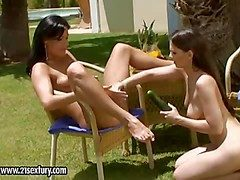 Simone Squeal and Eve Angel enjoy in playing wide some
