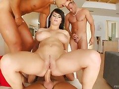 Big-busted babe named Kristi gets surrounded just about cocks with an increment of
