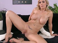 Tow-haired Tanya Tate respecting giant boobs stripping