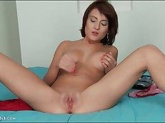 Handsomeness with a pierced clit fingers her cunt