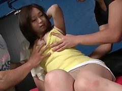 Rich brighten young Japanese jugs meagre with an increment of groped