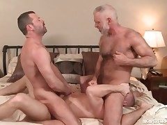 Three sizzling daddies in a faggot anal threesome