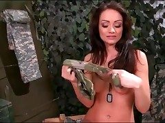 Army woman Sophie Lynx unclothes from military uniform