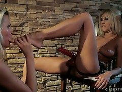 Platinum-blonde with meaty boobies gets turned on and