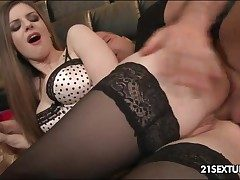 Hot woman in stockings nailed in the ass