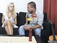 Blonde slut cheats her Beau with his brutha